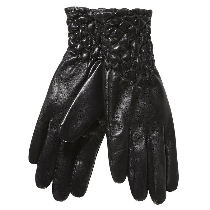Dámské kožené rukavice s prošíváním bata, černá, 904-6113 - 13