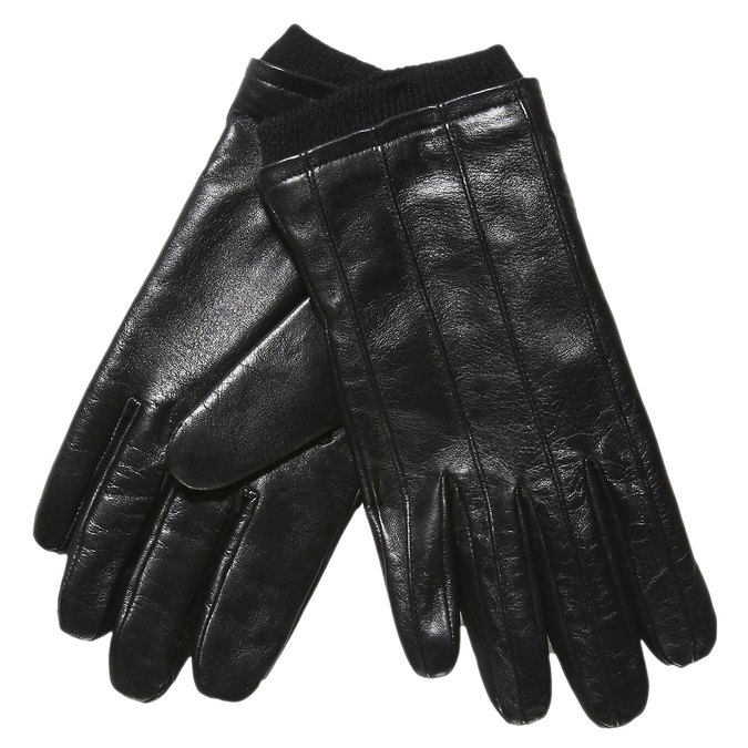 Kožené rukavice s úpletem bata, černá, 904-6117 - 13