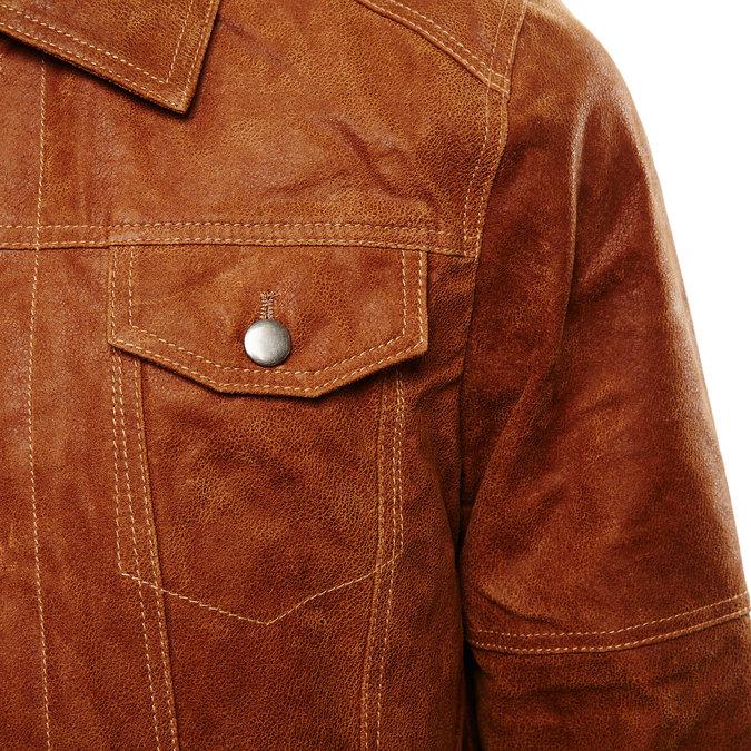 Pánská kožená bunda bata, hnědá, 973-3104 - 16