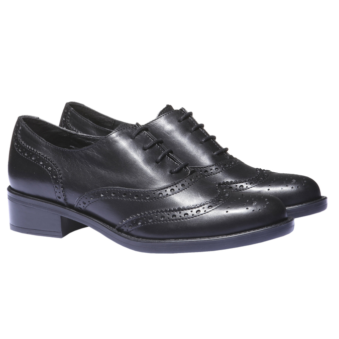 Kožené dámské polobotky bata, černá, 524-6185 - 26