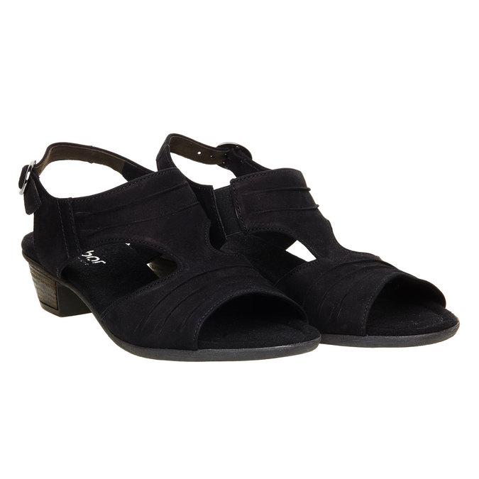 Kožené sandály na nízkém podpatku gabor, černá, 666-6100 - 26