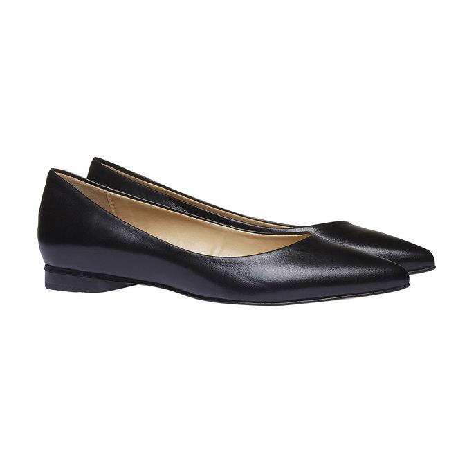 Černé kožené baleríny do špičky bata, černá, 524-6493 - 26