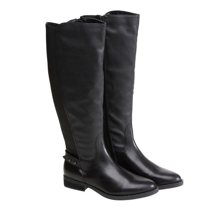 Kožené kozačky v jezdeckém stylu bata, černá, 594-6104 - 26