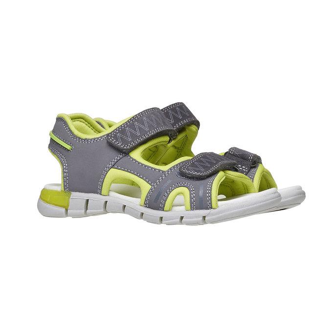 Dětské sandály s koženými pásky mini-b, šedá, 264-2166 - 26