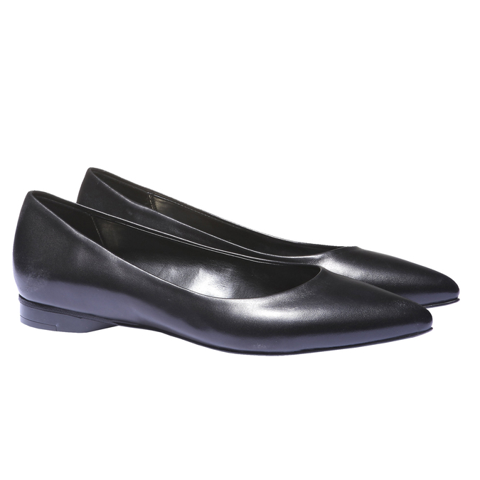 Kožené baleríny bata, černá, 524-6207 - 26