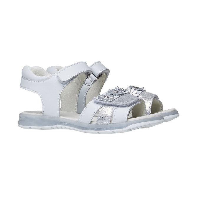 Bílé kožené sandály mini-b, bílá, 264-1163 - 26