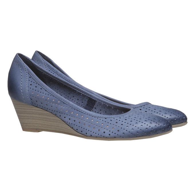 Kožené lodičky na klínku bata, modrá, 624-9385 - 26