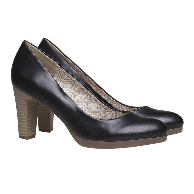 Kožené lodičky na širokém podpatku bata, černá, 724-6948 - 26