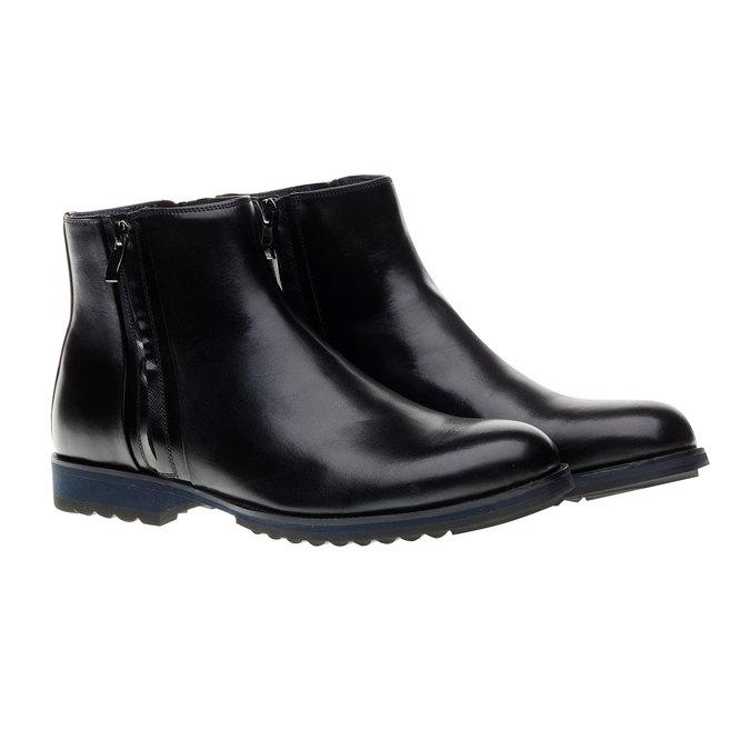 Kožené kotníkové boty se zipy bata, černá, 894-6138 - 26
