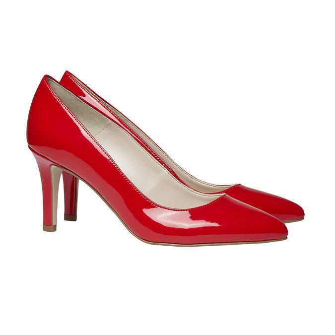 Červené kožené lodičky bata, červená, 728-5955 - 26