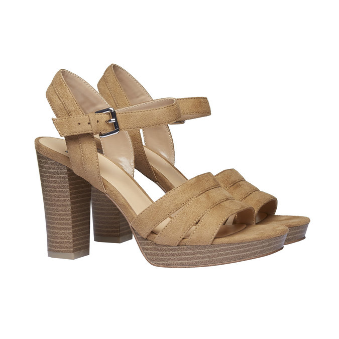 Dámské sandály na masivním podpatku bata, hnědá, 769-8484 - 26