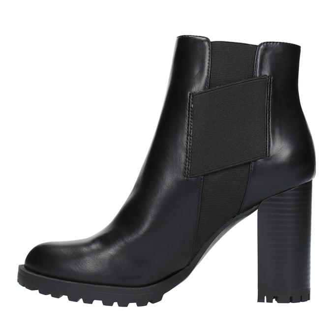 Kotníčková obuv na podpatku s pružnými boky bata, černá, 791-6604 - 26