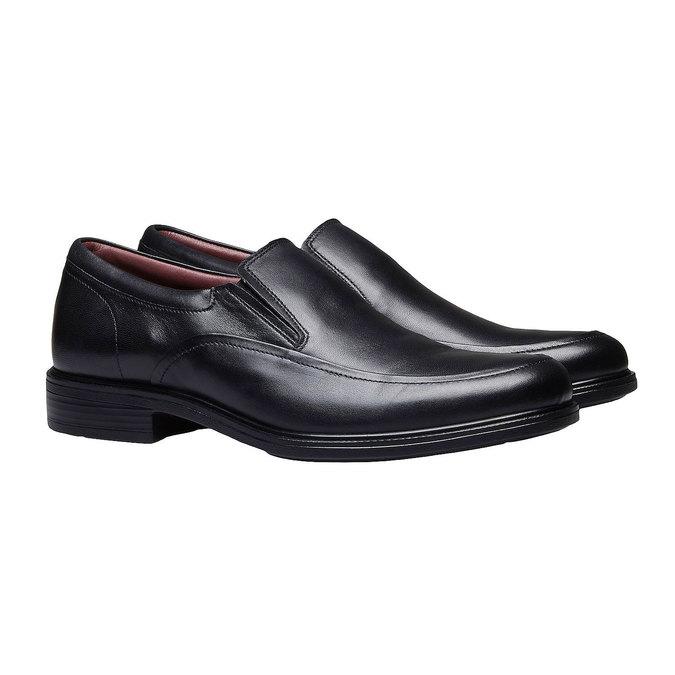 Komfortní polobotky z kůže bata-comfit, černá, 814-6934 - 26
