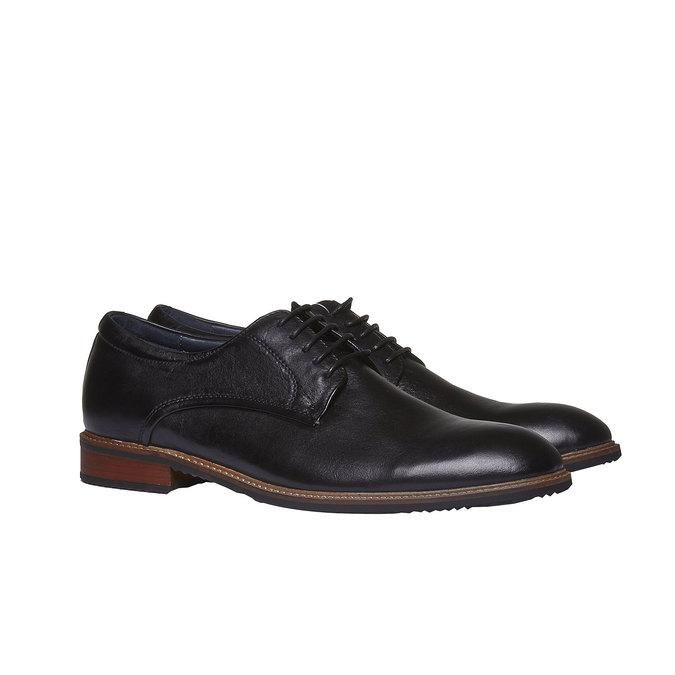 Kožené polobotky v Derby stylu bata, černá, 824-6707 - 26