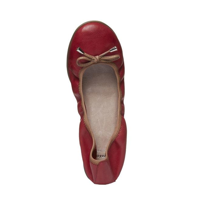 Červené kožené baleríny bata, červená, 524-5485 - 19
