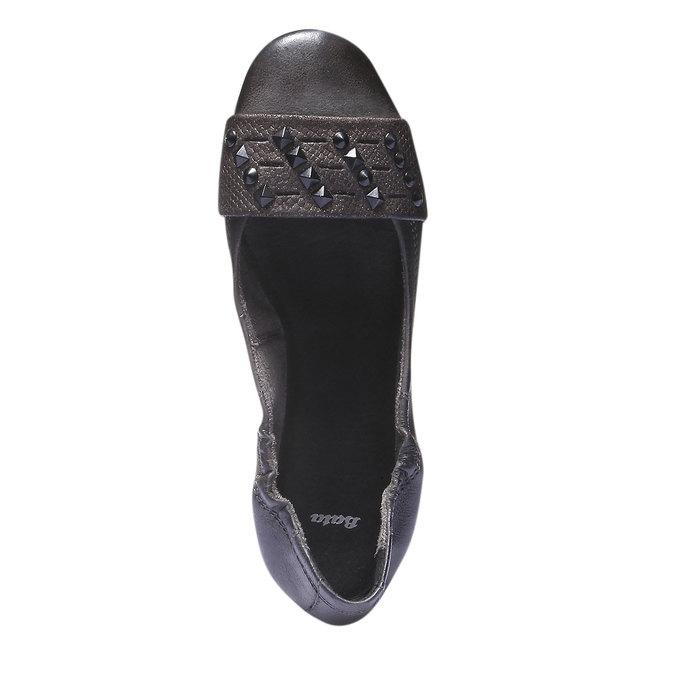 Kožené baleríny s kovovými detaily bata, šedá, 526-9101 - 19
