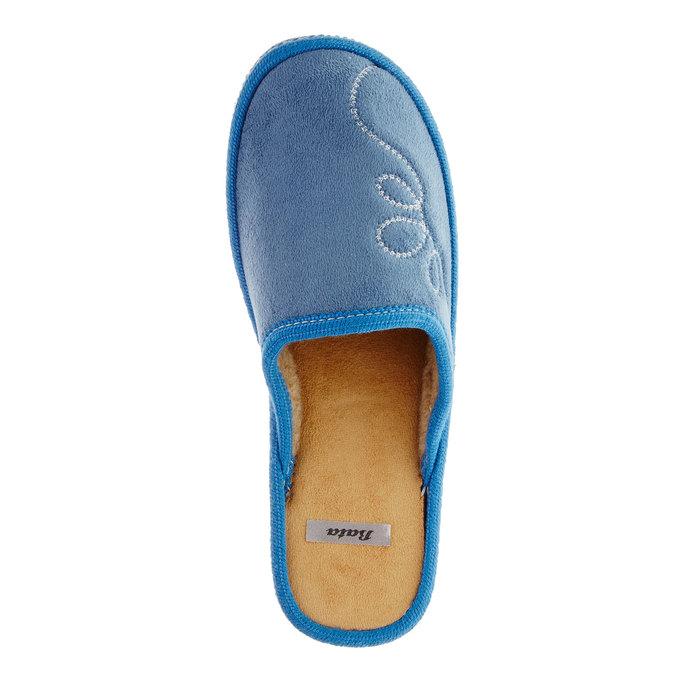 Dámské pantofle s výšivkou bata, modrá, 579-9234 - 19