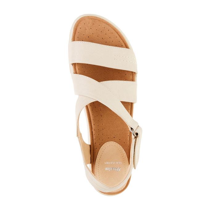 Dámské kožené sandály bata, béžová, 564-4351 - 19