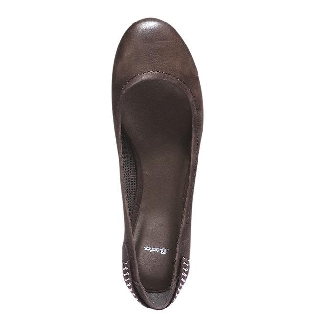 Kožené baleríny bata, hnědá, 526-4101 - 19