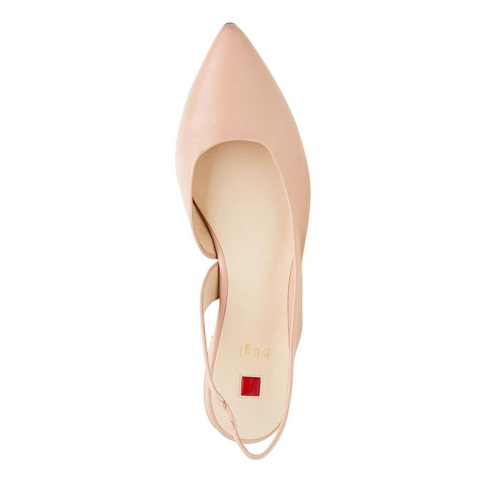 Kožené baleríny do špičky hogl, růžová, 524-8013 - 19