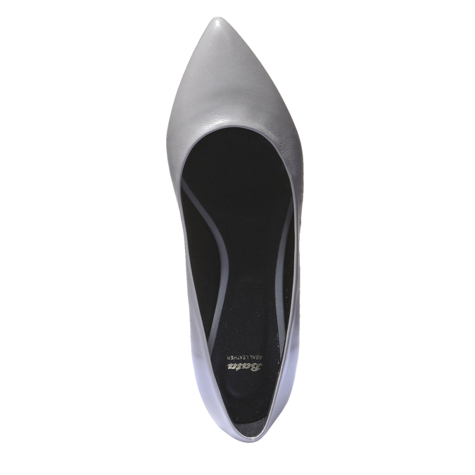 Kožené baleríny bata, šedá, 524-2207 - 19