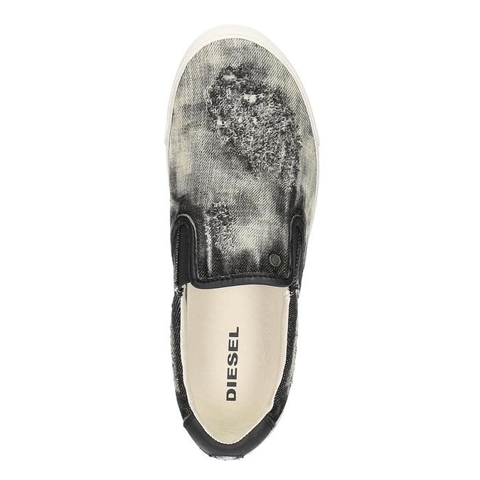 Denimové Slip on boty diesel, šedá, černá, 889-6116 - 19