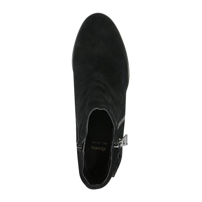Kožené kotníčkové kozačky s třásněmi bata, černá, 793-6602 - 19