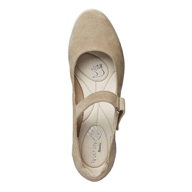 Kožené lodičky na klínovém podpatku bata-touch-me, béžová, 623-8392 - 19