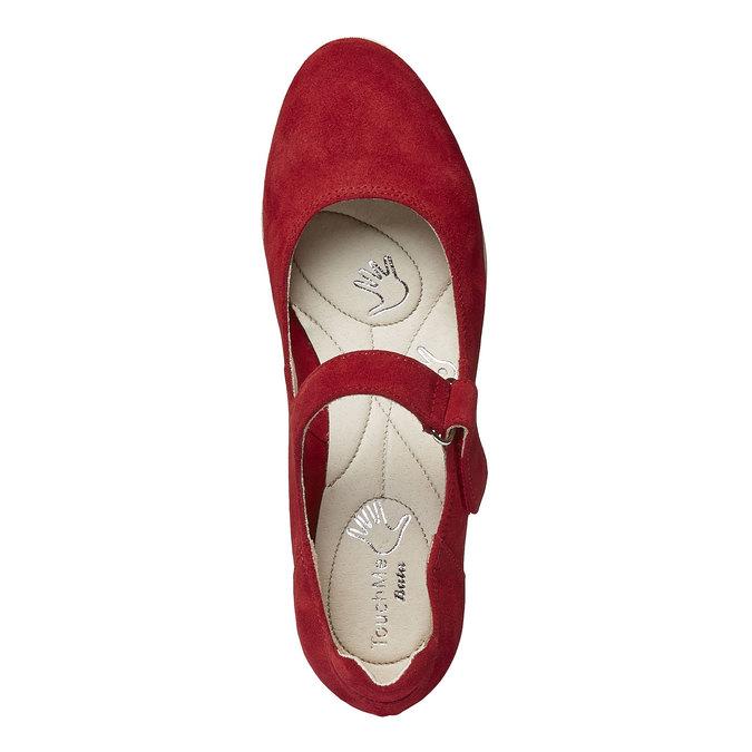 Kožené lodičky na klínovém podpatku bata-touch-me, červená, 623-5392 - 19