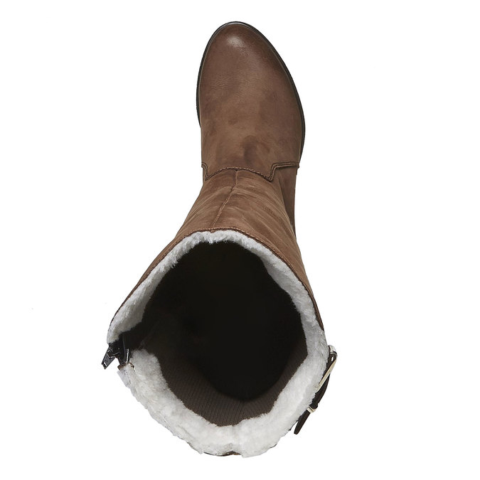 Kožené kozačky na podpatku bata, hnědá, 796-3100 - 19