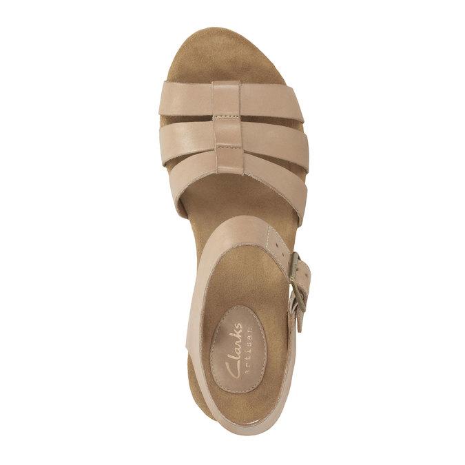 Kožené sandály na platformě clarks, béžová, 764-8002 - 19