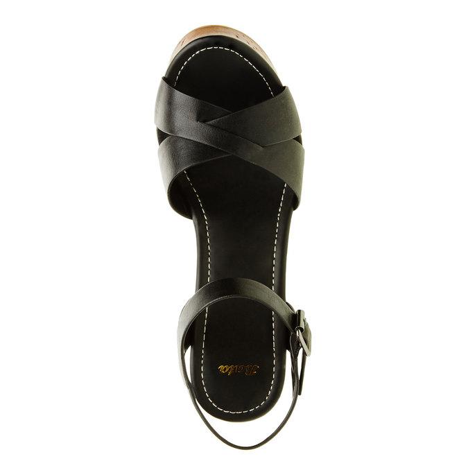 Sandály na masivním podpatku bata, černá, 761-6500 - 19