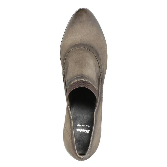Kožené polobotky na podpatku bata, hnědá, 796-2603 - 19
