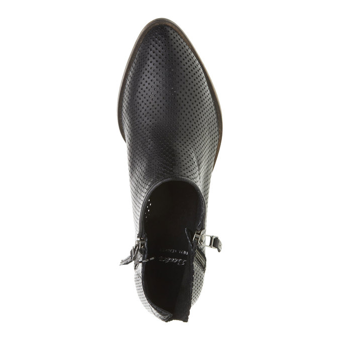 Kožené kotníčkové kozačky s perforací bata, černá, 594-6400 - 19