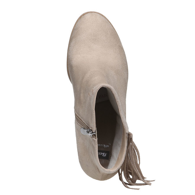 Kotníčkové kozačky s třásněmi bata, béžová, 799-8628 - 19