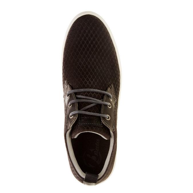 Ležérní kožené tenisky se strukturou bata, hnědá, 843-2320 - 19