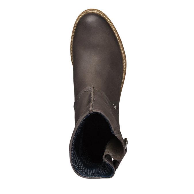 Kožené kozačky bata, šedá, 596-6104 - 19