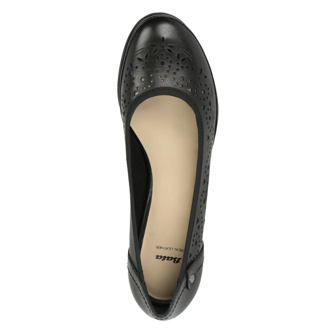 Dámské kožené lodičky s perforací bata, černá, 624-6602 - 19
