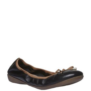 Černé kožené baleríny bata, černá, 524-6485 - 13