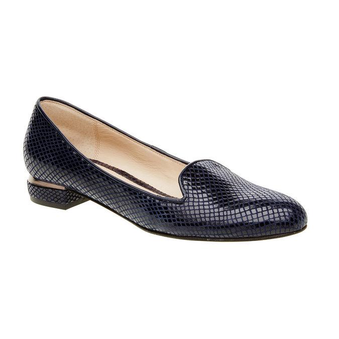 Dámské kožené mokasíny bata, modrá, 524-9412 - 13