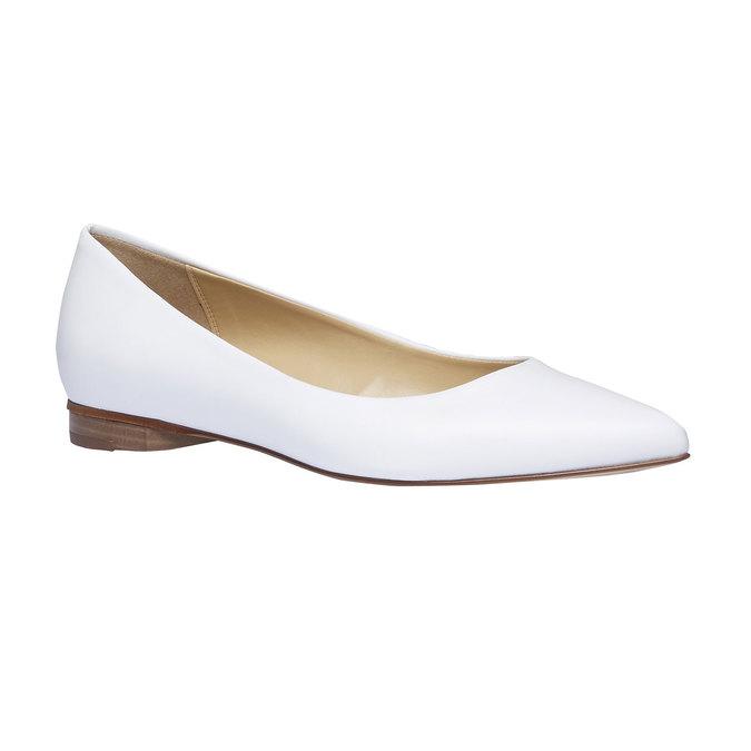Bílé kožené baleríny do špičky bata, bílá, 524-1493 - 13