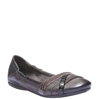 Kožené baleríny bata, šedá, 526-2100 - 13