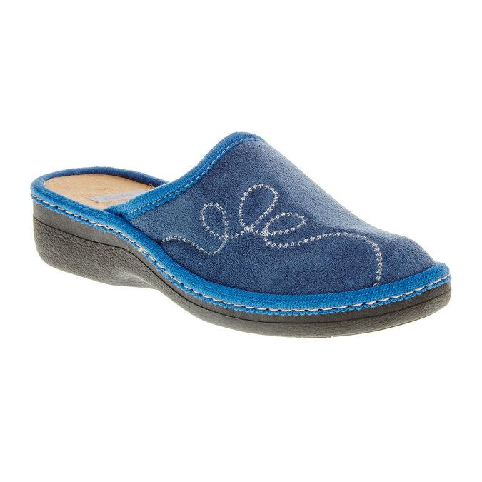 Dámské pantofle s výšivkou bata, modrá, 579-9234 - 13