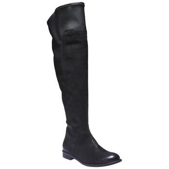 Kožené kozačky ke kolenům bata, černá, 596-6100 - 13