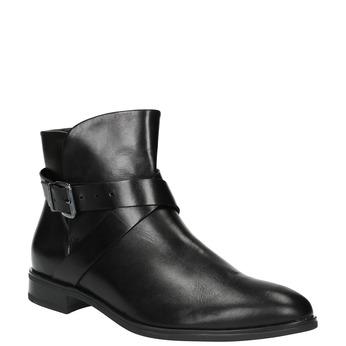 Kožená kotníčková obuv s přezkou bata, černá, 594-6602 - 13