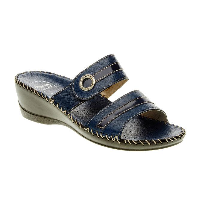 Dámské pantofle na klínovém podpatku comfit, modrá, 674-9249 - 13