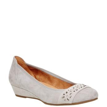 Kožené lodičky na klínovém podpatku bata, šedá, 623-2101 - 13