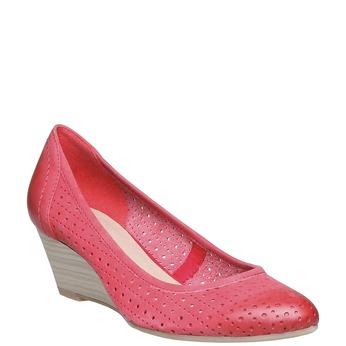 Červené kožené lodičky na klínovém podpatku bata, červená, 624-5385 - 13