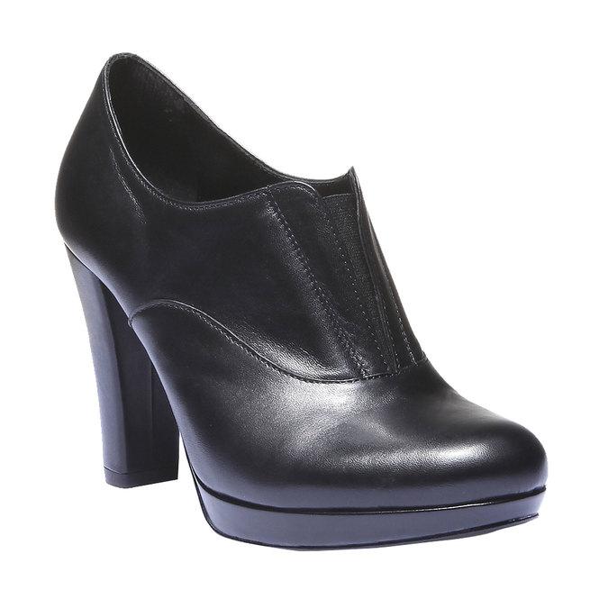 Kožené kozačky na vysokém podpatku bata, černá, 724-6601 - 13