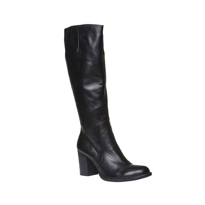 Kožené kozačky na širokém podpatku bata, černá, 794-6112 - 13